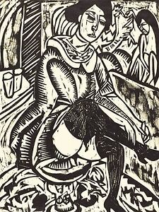 ERNST-LUDWIG-KIRCHNER-GERMAN-WOMAN-TYING-HER-SHOE-OLD-ART-PAINTING-PRINT-BB5286A