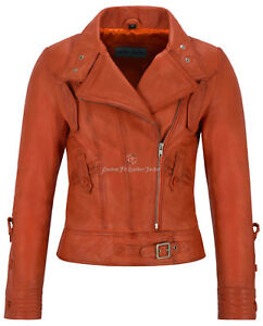 cordero de damas estilo cuero 4110 Biker naranja diseñador de real piel Supermodel chaqueta para vP1xnWURqZ