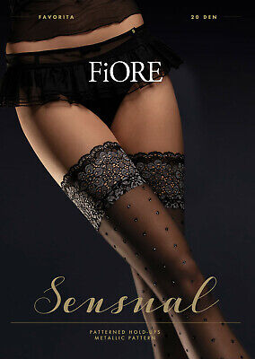 FIORE Narcisa Luxury 40 Denier Super Fine Decorative Patterned Lace Top Hold Ups