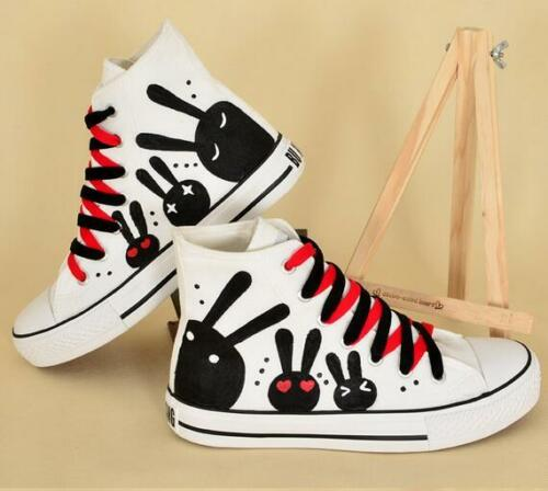 cute print high top sneakers women/'s leisure canvas shoes cap toe lace up