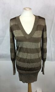 New-Look-Size-12-Brown-Gold-Striped-Stretch-Bodycon-Jumper-Dress-V-Neck