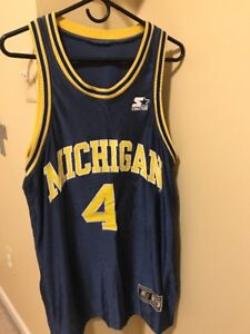 new product 1ad6a c49b8 Details about RARE VINTAGE CHRIS WEBBER MICHIGAN WOLVERINES JERSEY SIZE 48  BLUE NCAA #4