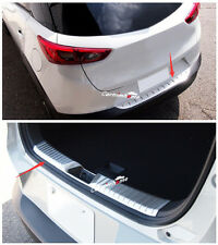 Outer + Inner Rear Bumper Protector Sill Plate Cover 2pcs For Mazda CX-3 15-16