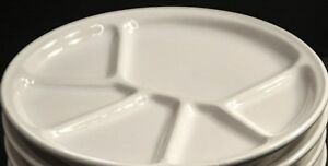 WILLIAMS-SONOMA-Varages-White-Divided-Small-Plate-Fondue-Appetizer-Snack-Ceramic