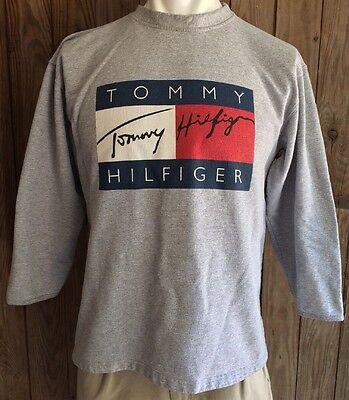 Tommy Hilfiger Men's XL Crewneck Sweater Vintage 90's Gray Big Flag Spell Out | eBay