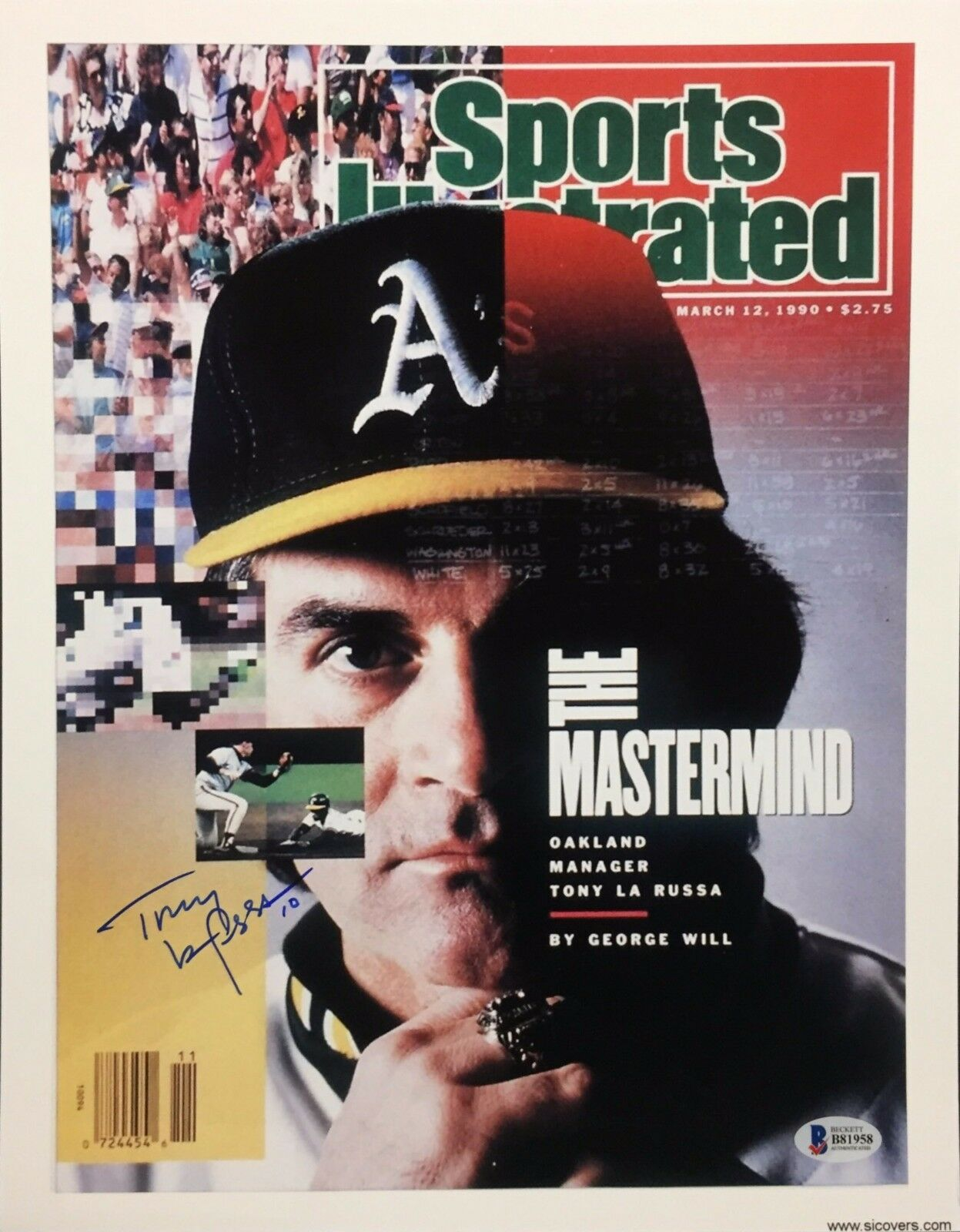 Tony La Russa Signed 11x14 Sports Illustrated Cover Photo *Athletics Beckett BAS