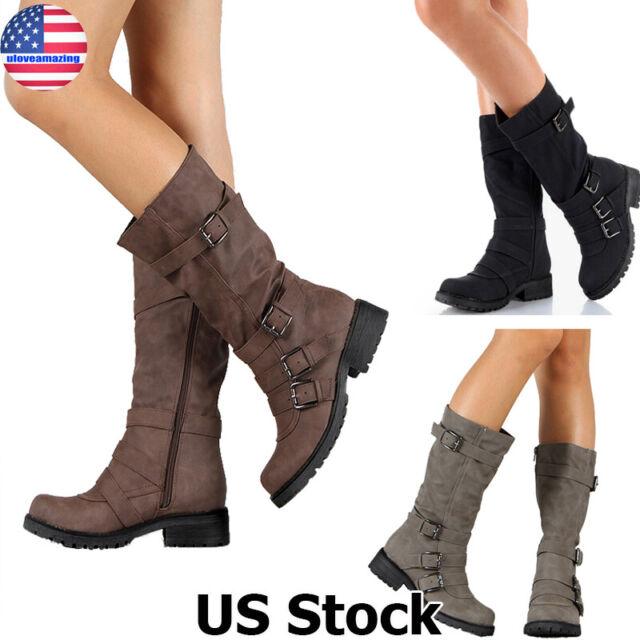Women/'s Ladies Flats Low Mid Heel Calf Knee Studded Buckle Zip Up Riding Boots