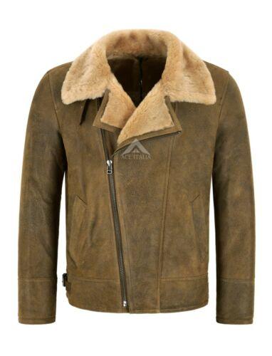 Men/'s B3 Sheepskin Jacket RAF Cross Zip Antique Real Shearling Fur Jacket NV-49