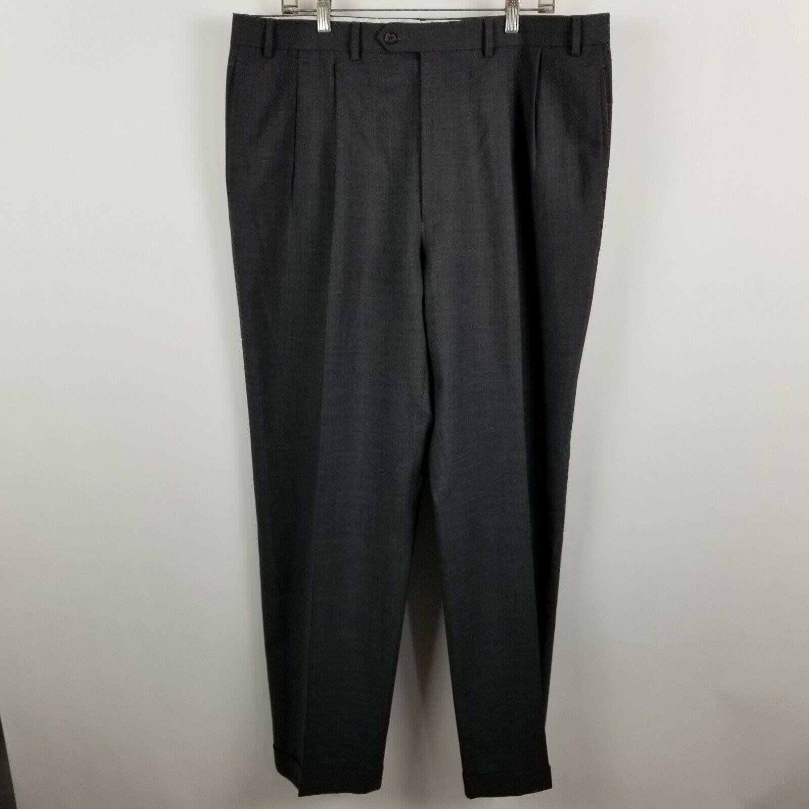 Lauren Ralph Lauren Total Comfort Mens Pleated Charcoal Dress Pants Size 38x32