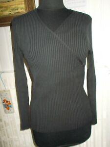 Pull-moulant-croise-soie-noir-cotele-stretch-JUMFIL-XL-40-42-extensible