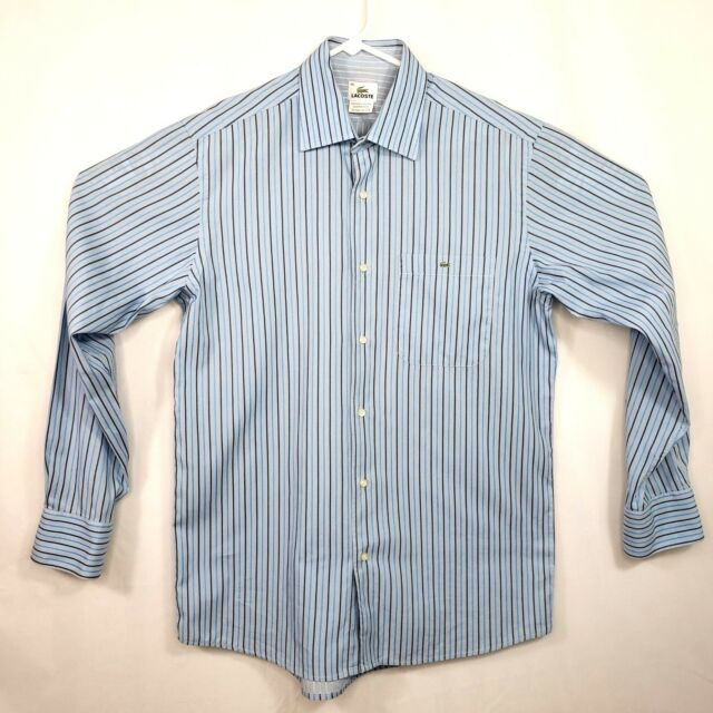 9daaa650a Lacoste Mens Dress Shirt Size 40 Light Blue Striped Cotton Button Front