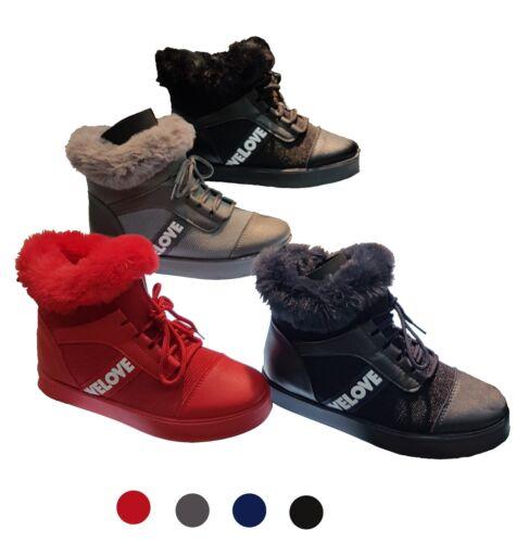 Damen Boots Sneakers Stiefelletten Winterschuhe Schnürschuhe gefüttert mit Fell