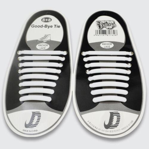 16PC Colored No Tie Elastic Shoe Laces 100/% Silicone Trainers Adult Shoelaces GW