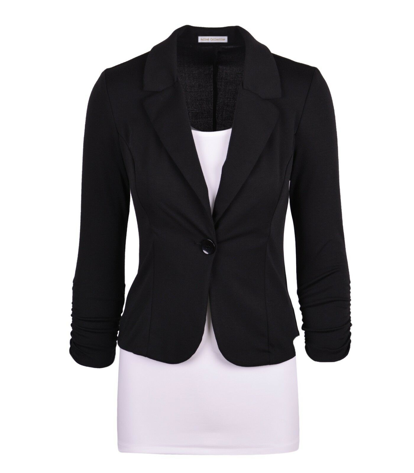 0c5cf319 Aulin Collection Women's Casual Work Solid Color Knit Blazer Black 5x