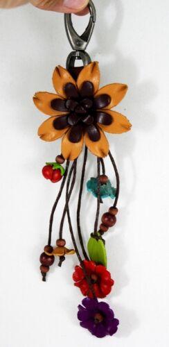 Brown Keychain Purse Leather Keyring Flower Decor Charm Handmade Craft 2Tone Tan