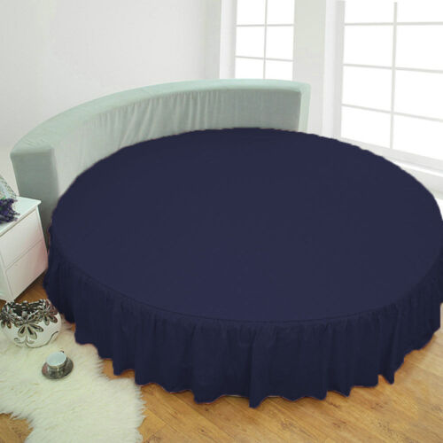 DROP LENGTH 1 PC ROUND BED SKIRT EGYPTIAN COTTON SELECT US SIZES ALL COLORS
