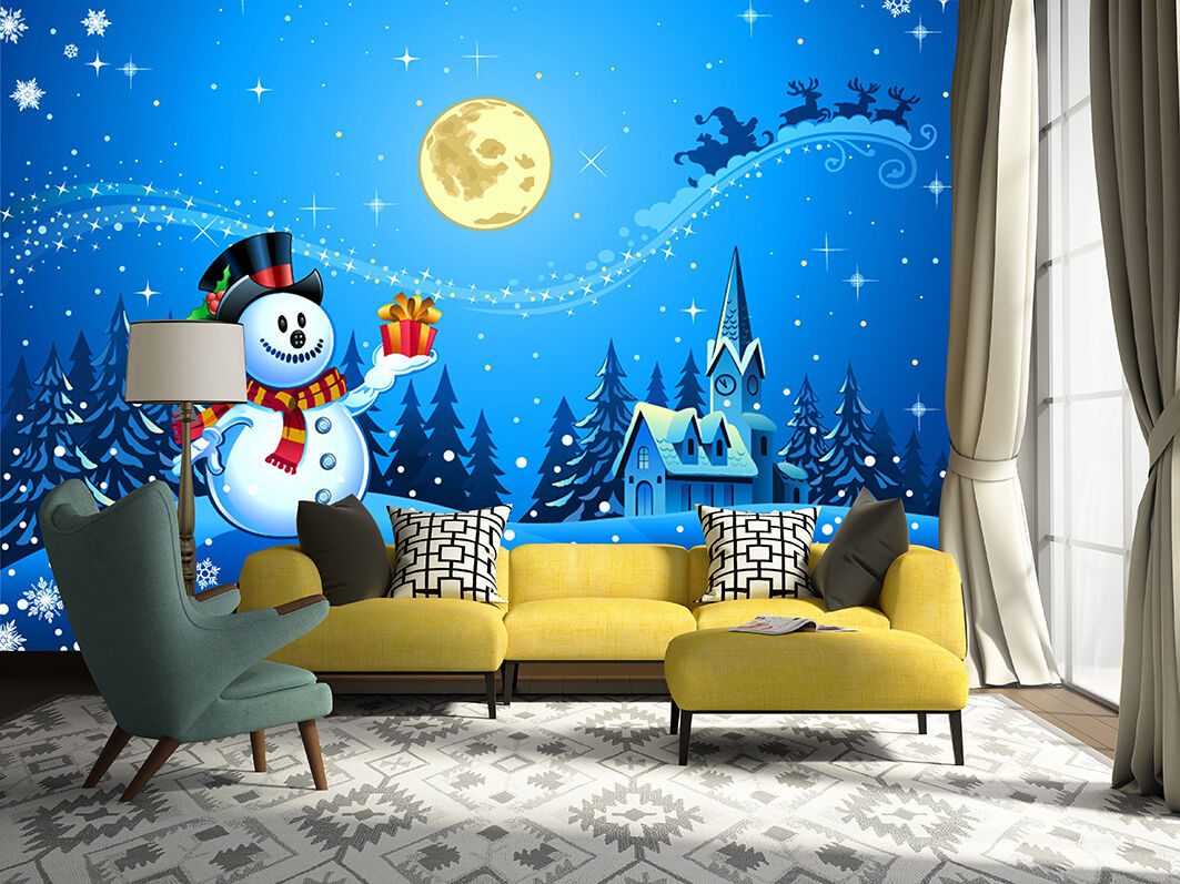3D Christmas Snowman Star Wall Paper Print Decal Wall Deco Indoor wall Mural