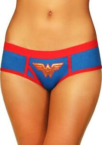 Wonder-Woman-Boyshort-Hipster-Panties-Large-Red-amp-Blue-Logo-Comic-Fan-Lingerie
