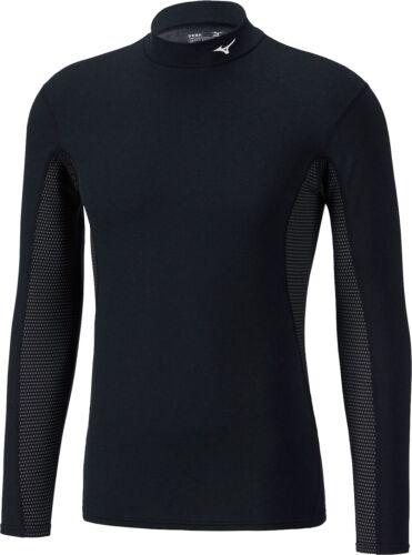 Black Mizuno Mid Weight High Neck Long Sleeve Mens Running Top
