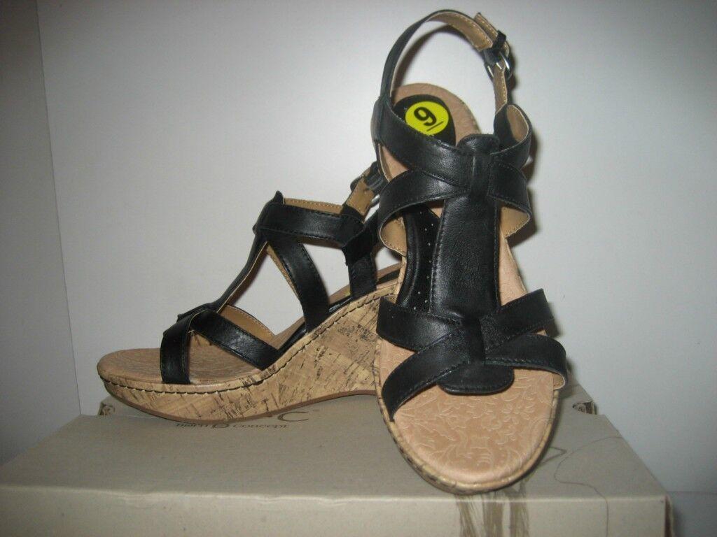 Nacido Negro Con Tiras De Cuero Gladiador Cuña Plataforma Taco Taco Taco Alto Sandalia Talla 9 Nuevas  compra limitada