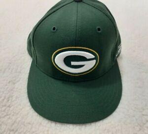 NFL Green Bay Packers Green Flat Bill Fitted Hat 100% Wool Reebok Size 7 1/8