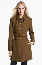 New Olive Burberry Brit 'Didmoore' Single Breasted Coat Size 10 US/ $1195+