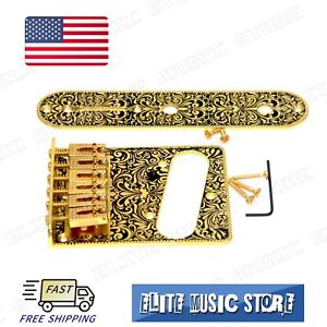Gold-Retro-Fender-Tele-Telecaster-Electric-Guitar-Bridge-6-Saddles-Control-Plate