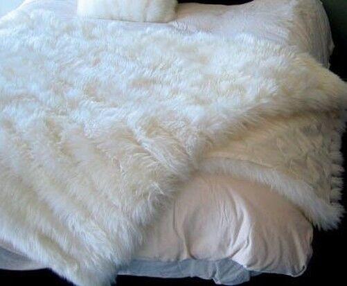 Luxus Echtes Lammfell Überwurf/Bettbezug Mit Gesteppt Satin Rücken Elfenbein