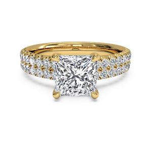 1.60 Ct Princess Moissanite Anniversary Ring 14K Bridal Solid Yellow Gold Size 4