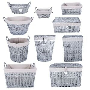 Image Is Loading Grey Paint Collection Home Bathroom Storage Wicker Basket