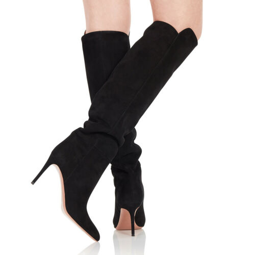 Details about  /Women/'s Suede Fabric Pointy Toe Knee High Boots High Heels Pull On Party Shoes