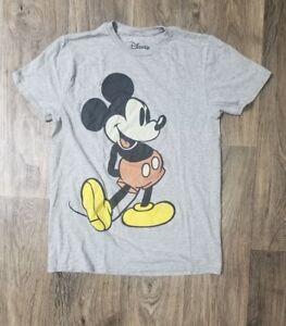 Mens-Disney-World-Mickey-Mouse-Gray-Black-Red-Yellow-Big-Logo-T-Shirt-Size-Small