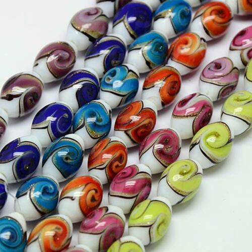 6 LARGE LAMPWORK /'TULIP TWIST/' OVAL GLASS BEADS 16mm x 11mm COLOUR CHOICE