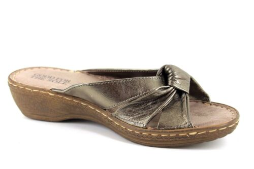 For Sole Knot Fit Womens Metallic Uk7 The Sandals Leather Glinda Good Wide Wedge w1dq4Ewn
