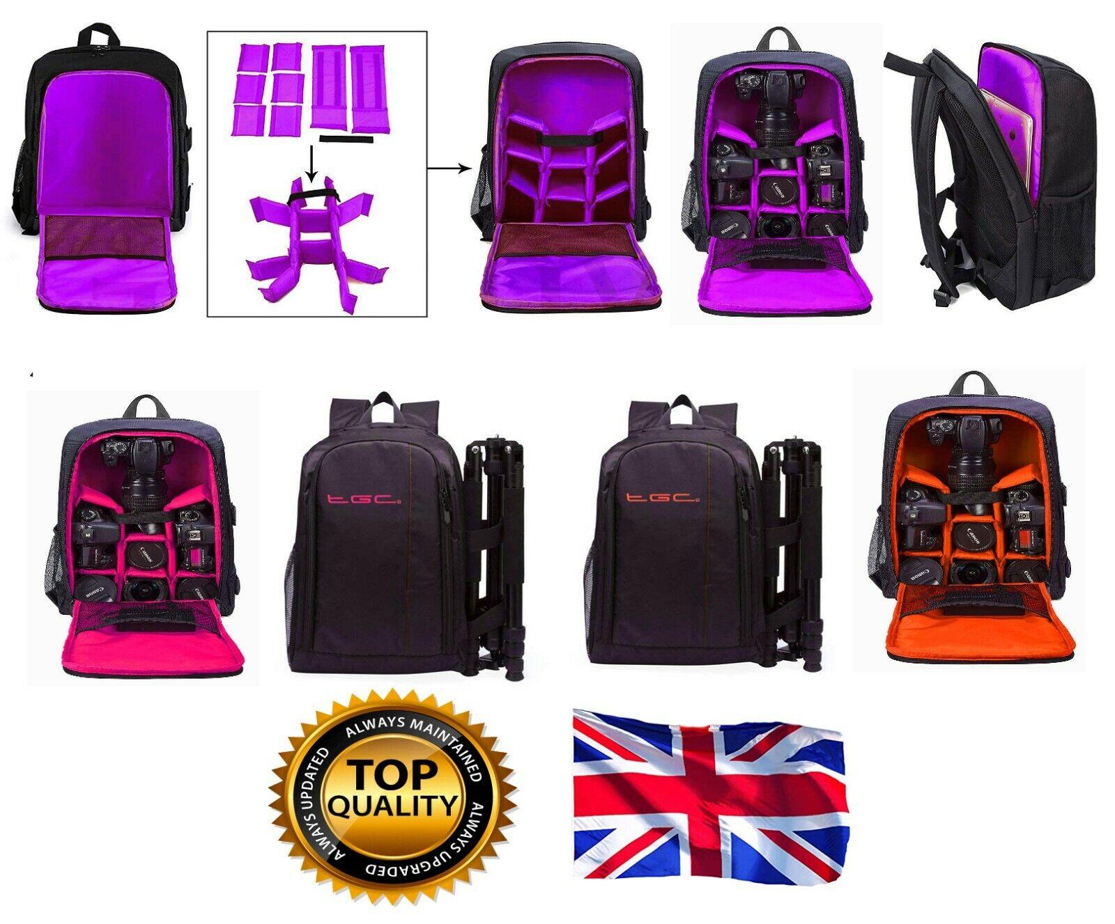 LARGE DSLR SLR Camera Bag Backpack Rucksack for Nikon Canon Sony Pentax W/Proof