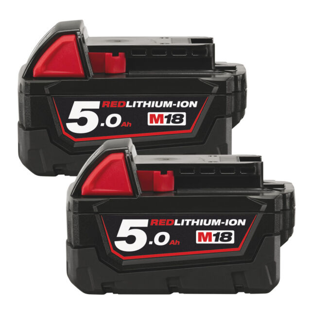 2x Milwaukee M18B5 Li-Ion Akku 18 Volt 5,0Ah Red Lithium Ion 18V 4932430483
