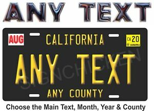 California-Black-License-Plate-ANY-TEXT-VANITY-EMBOSSED-LOOK-NEW