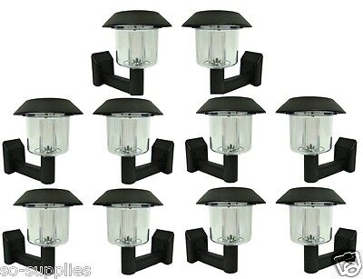 10 X SOLAR POWER POWERED WALL FENCE LIGHT POST LED SHED OUTDOOR GARDEN LIGHTING