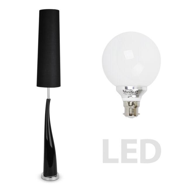 Modern Tall Black Ceramic  Chrome LED Floor Standing Light Standard Lamp Lamps