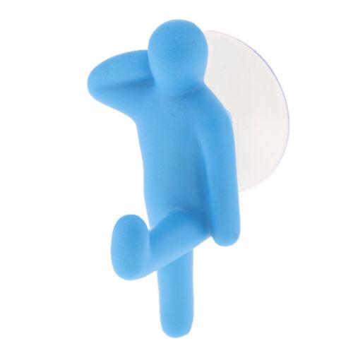 Kreative Handtuchhalter Kleiderbügel Saugnapf Sucker Haken Bad Küche Blau