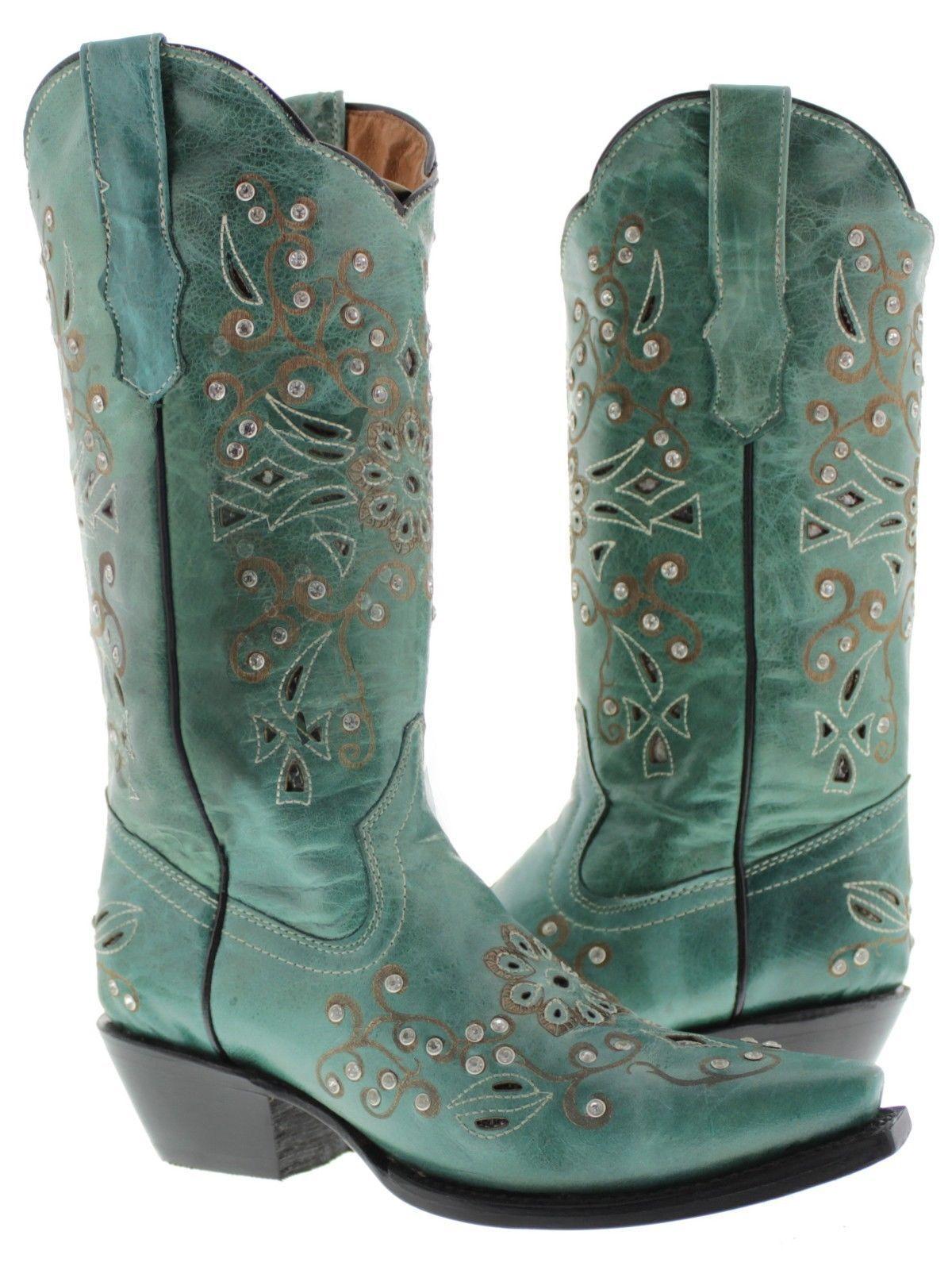 Donna Turquoise Python Rhinestone Western Pelle Cowboy Stivali Rodeo Cowgirl