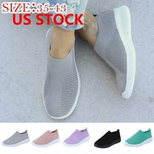 Women-Casual-Sock-Mesh-Shoes-Trainers-Flat-Slip-On-Comfy-Pumps-Sneakers-US-Size