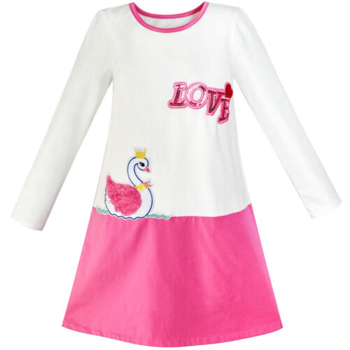 Girls Dress Duck Embroidery Long Sleeve Color Contrast Cotton Size 5-10