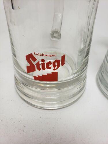 EUC 2 STIEGL SALZBURGER 0.5l GLASS STEIN MUG TANKARD AUSTRIAN SAHM