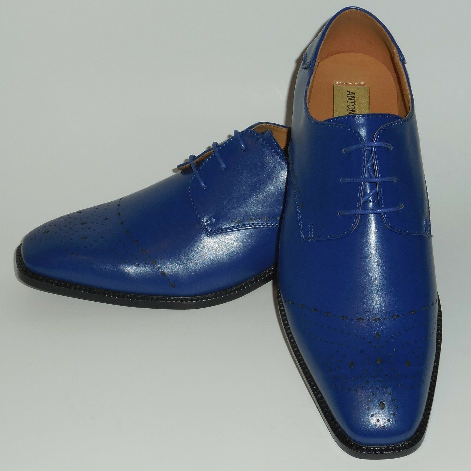 Uomo Cool Perforated Royal Blue Oxford Fashion Dress Scarpe Antonio Cerrelli 6738