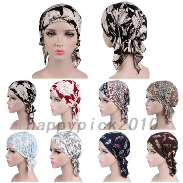 Muslim Women Cotton Silky Braid Turban Hat Scarves Pre-Tied Cancer Chemo Beanies Bandana Headwear Headwrap Hair Loss Accessories Leaves