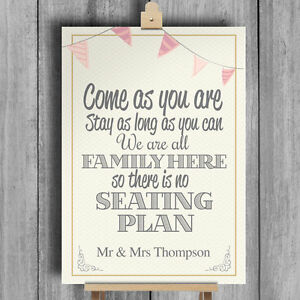 bunting personalised wedding sign no seating plan we re family