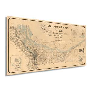 1889 Map of Multnomah County Oregon - Vintage Multnomah County Wall Art Poster