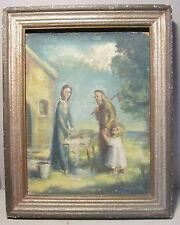Altes  Ölbild  heilige Familie Maria Jesu und Josef als Zimmermann