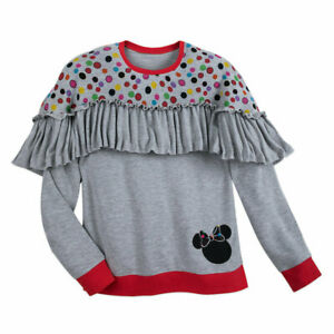 Disney-Boutique-Rocks-The-Dots-Ruffled-Top-Grey-Women-039-s-Shirt-Small-New-w-Tag